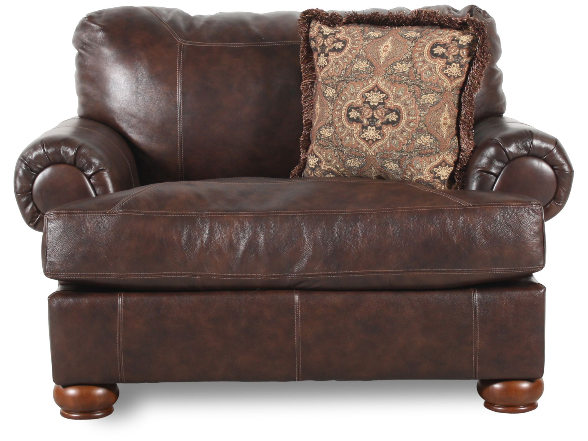 Traditional Leather 55u0026quot; Chair And A Half ...