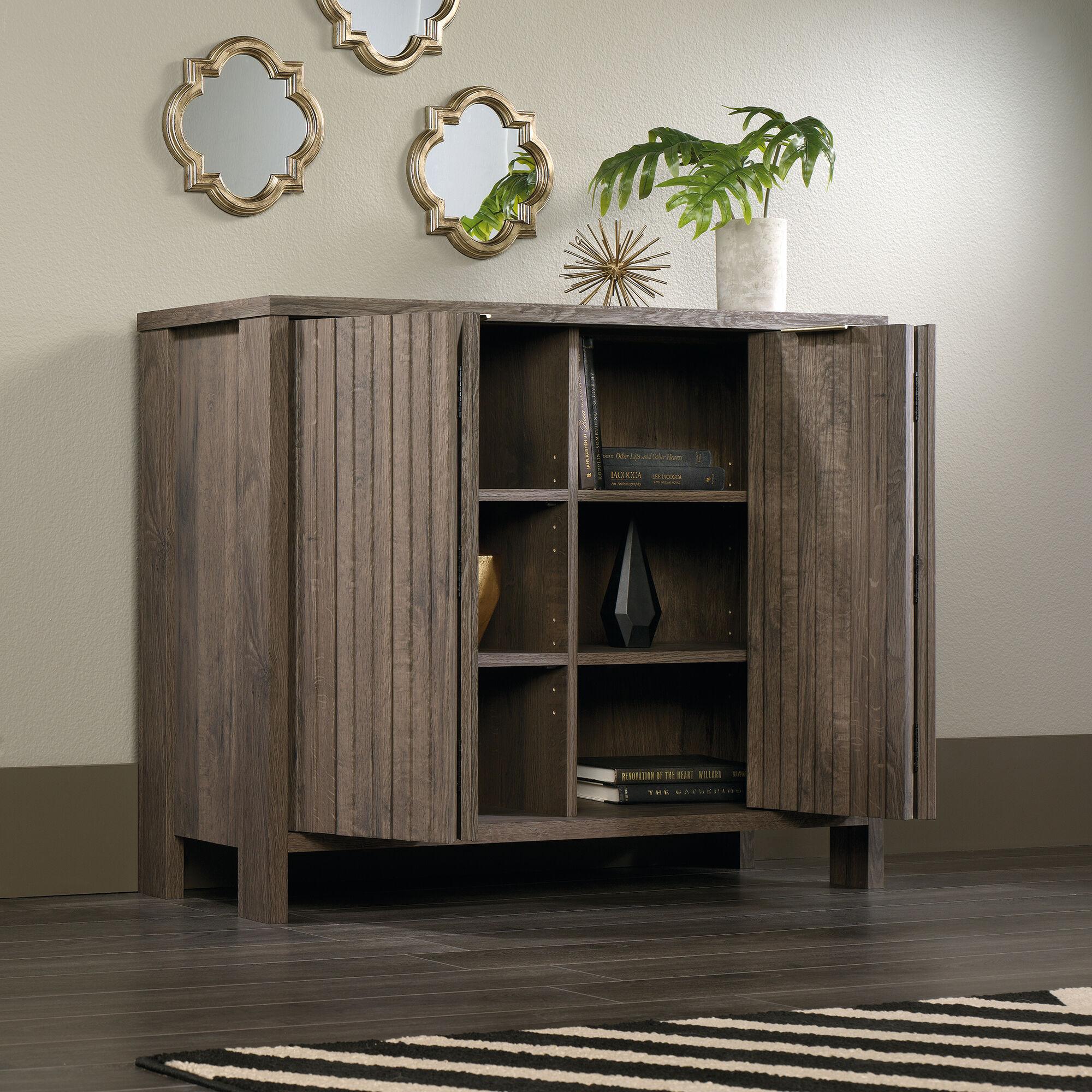 Bi Fold Doors Contemporary Storage Cabinet In Fossil Oak
