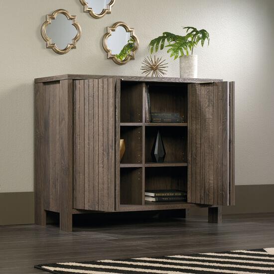 Bi-Fold Doors Contemporary Storage Cabinet in Fossil Oak