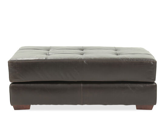 "Tufted Casual 50"" Leather Cocktail Ottoman in Brown"
