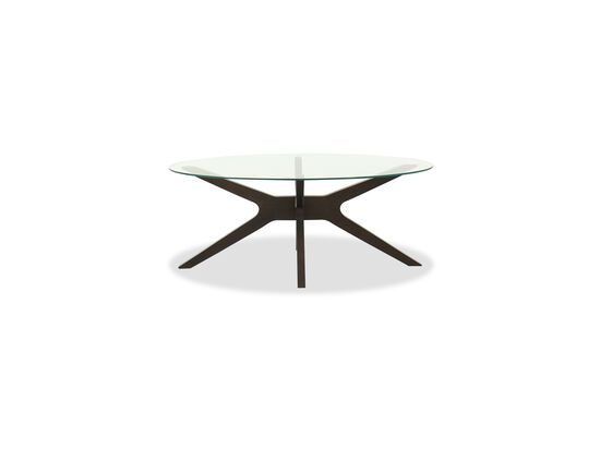 Mid-Century Modern Glass Top Cocktail Table in Brown