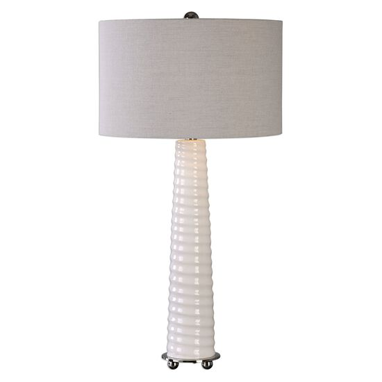 Spiral Ribbed Table Lamp in Gloss White