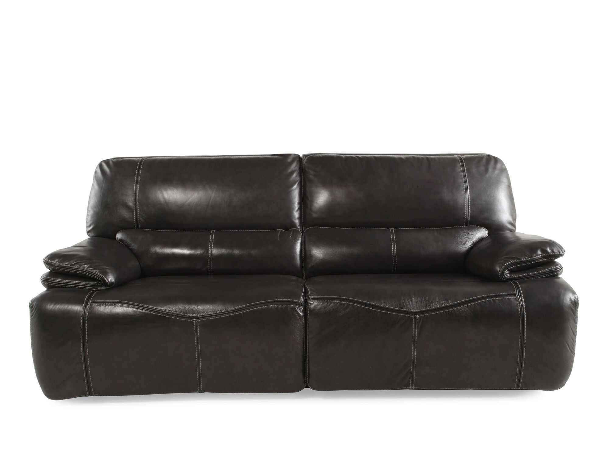 Power Reclining Leather 43 Quot Sofa In Gray Mathis Brothers