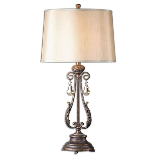 Acanthus Leaf-Carved Table Lamp in Distressed Bronze