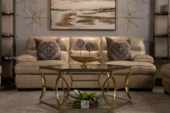 """Contemporary Leather 91"""" Sofa in Wheat"""
