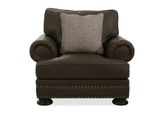 """46"""" Leather Nailhead-Accented Chair in Grey"""