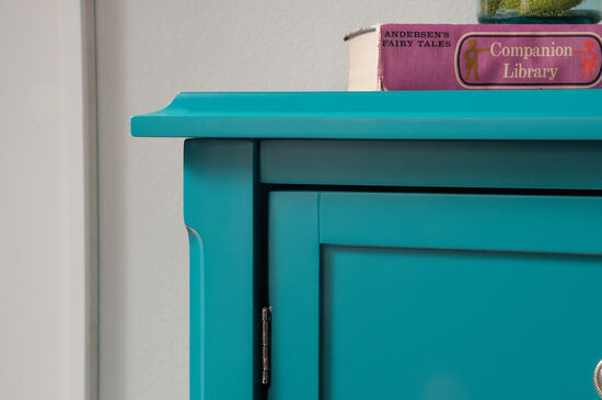 34'' Two-Adjustable Shelves Solid Wood Accent Storage Cabinet in Peacock