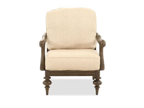 Scrolled Back Aluminum Club Chair in Beige