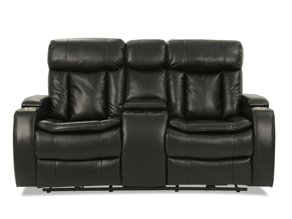 Power Reclining Leather 72 Loveseat In Black Mathis Brothers