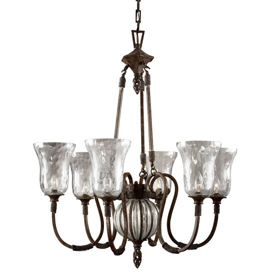 Open Weave Accented Six-Light Iron Chandelier in Saddle Brown