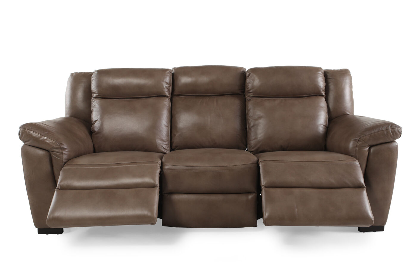 Contemporary 88quot power reclining sofa in nutmeg brown for Contemporary reclining sofas
