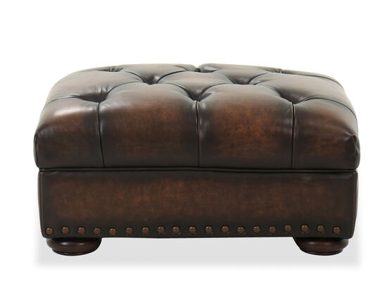 Tufted Leather Ottoman in Dark Brown