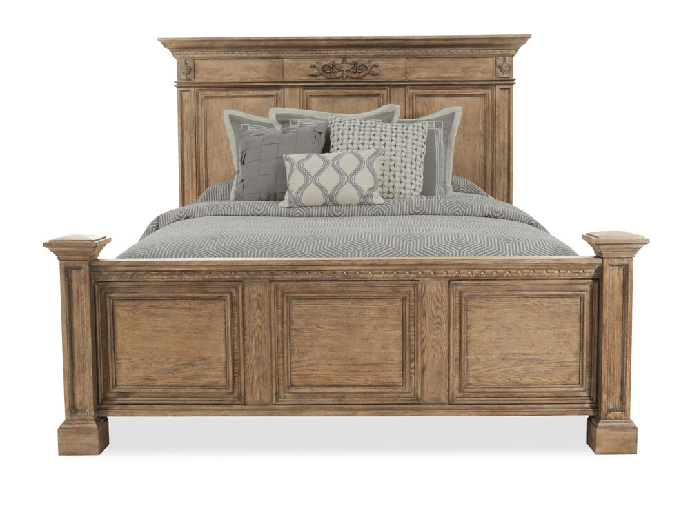 """70"""" Traditional Panel Bed with USB Port in Light Aged Oak"""