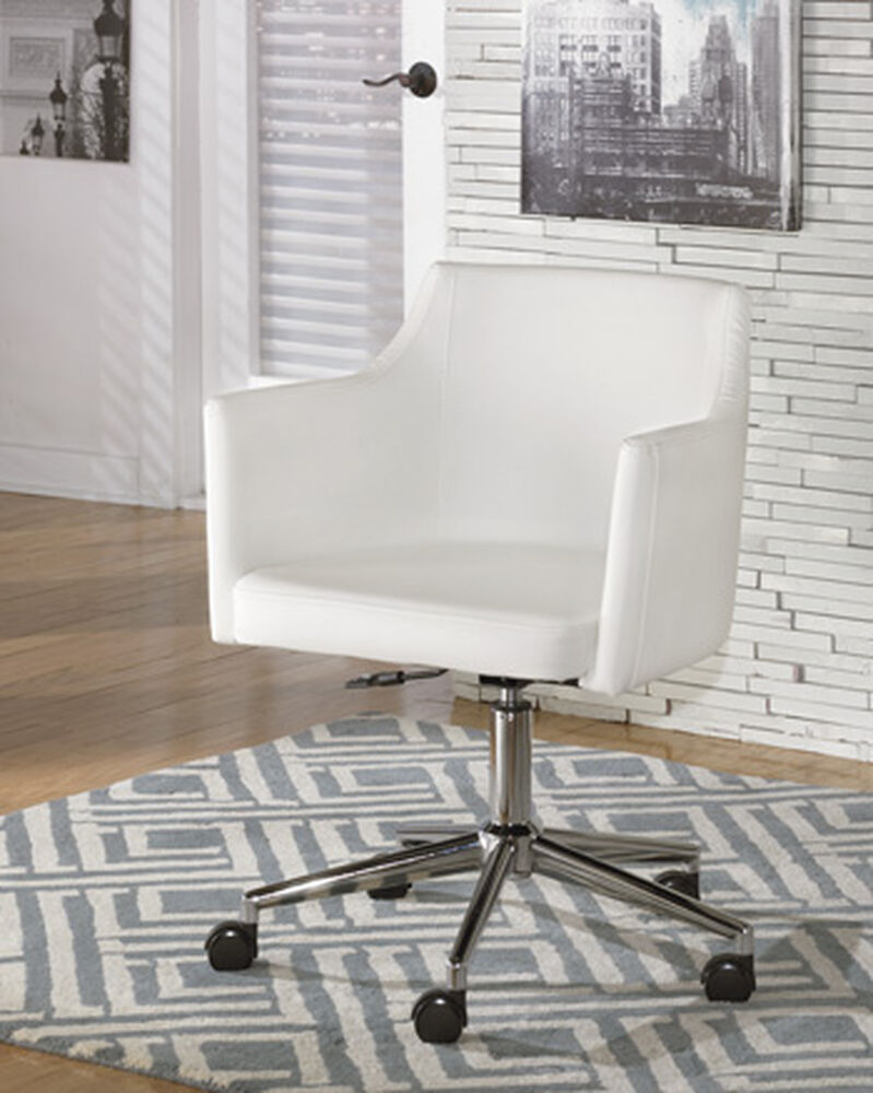 Swivel desk chair in white powder coat mathis brothers furniture