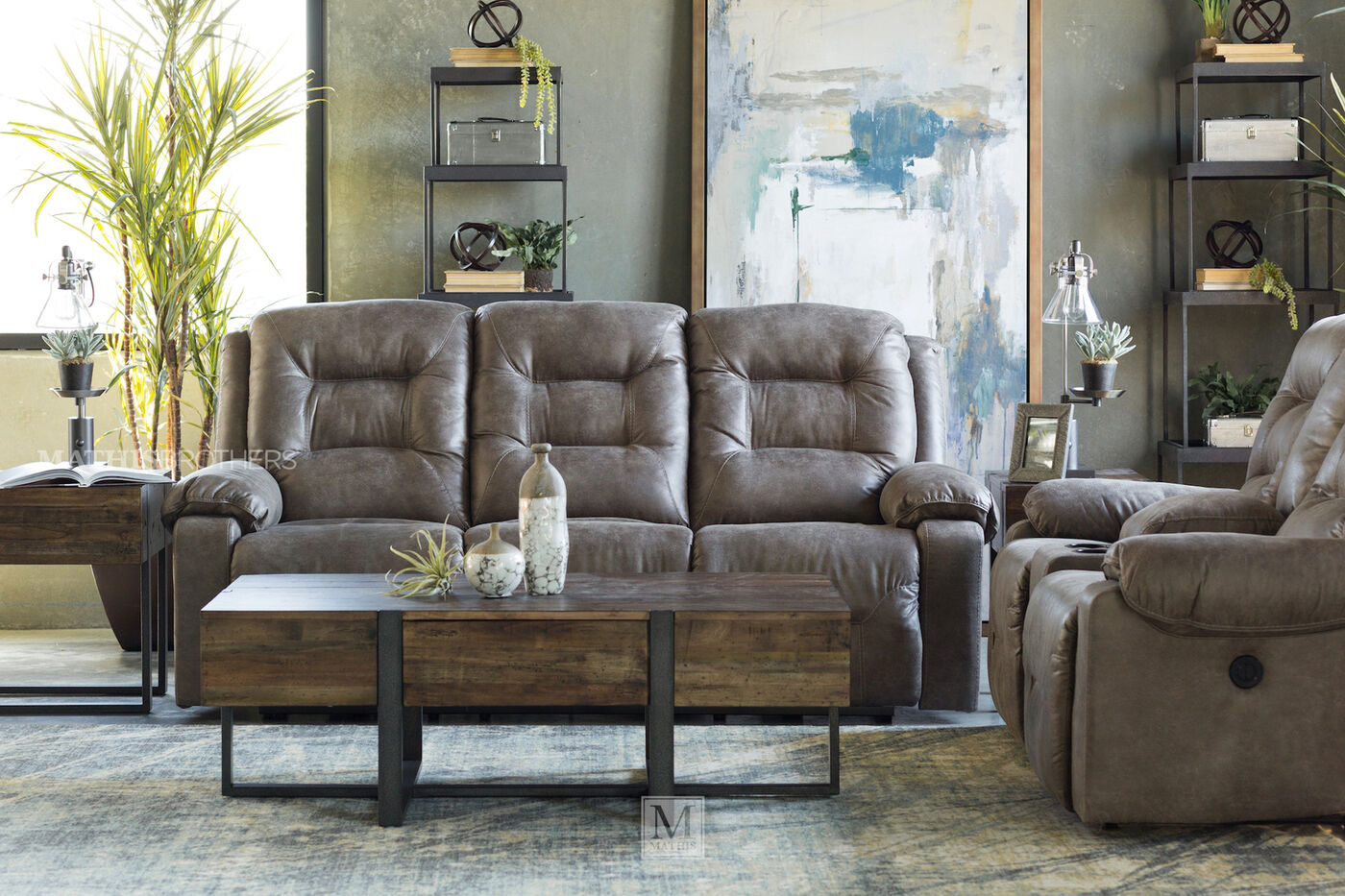 88 Power Reclining Sofa In Smoke Mathis Brothers Furniture