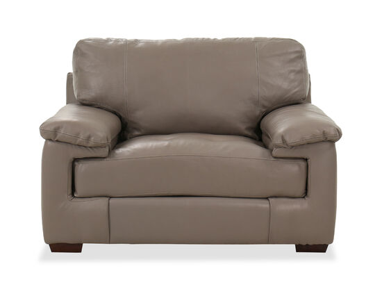 Casual Leather Chair in Pebble Gray