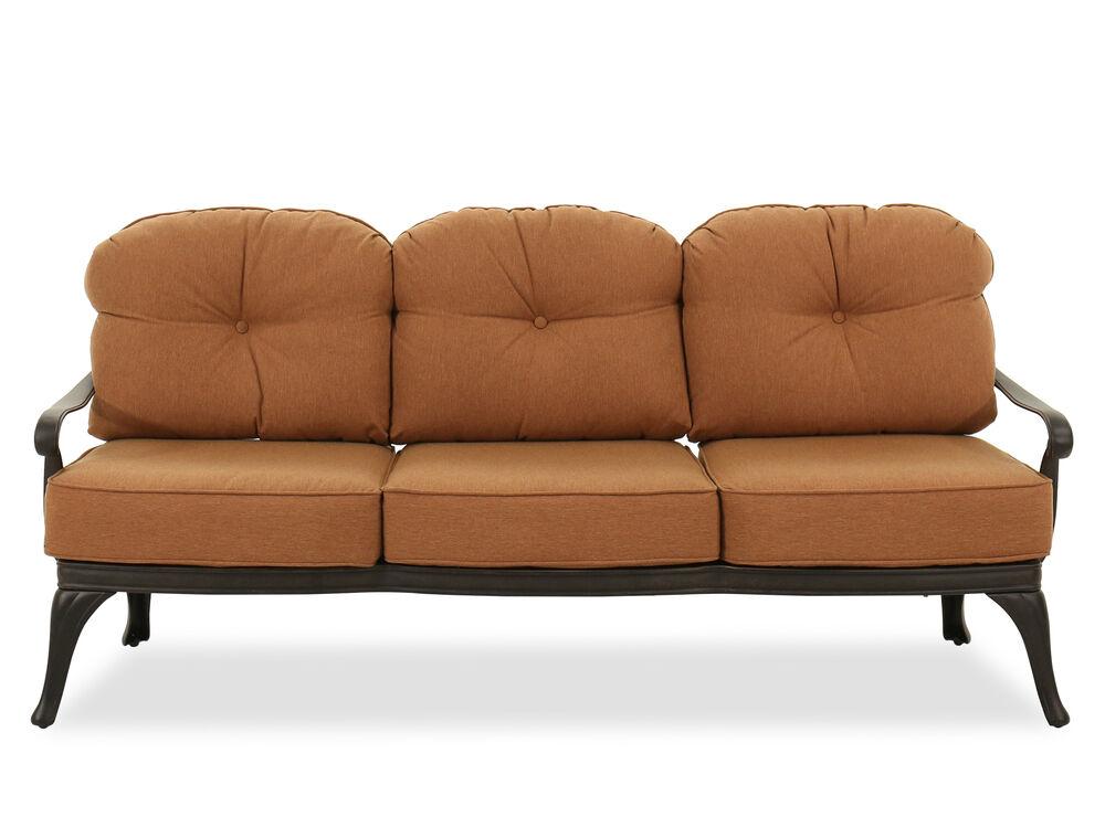 Button-Tufted Aluminum Sofa in Brown