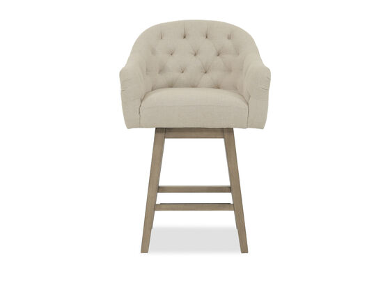 """Nailhead Accented 38"""" Tufted Bar Stool in Beige"""