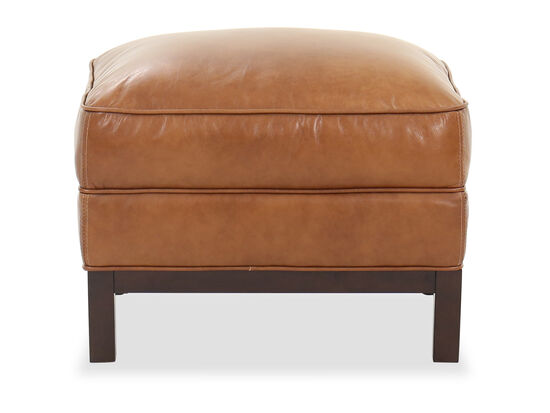 Casual Leather Ottoman in Caramel