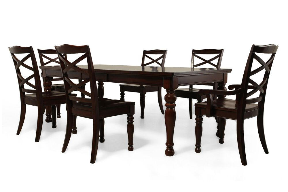 Seven-Piece Traditional Dining Set in Burnished Brown