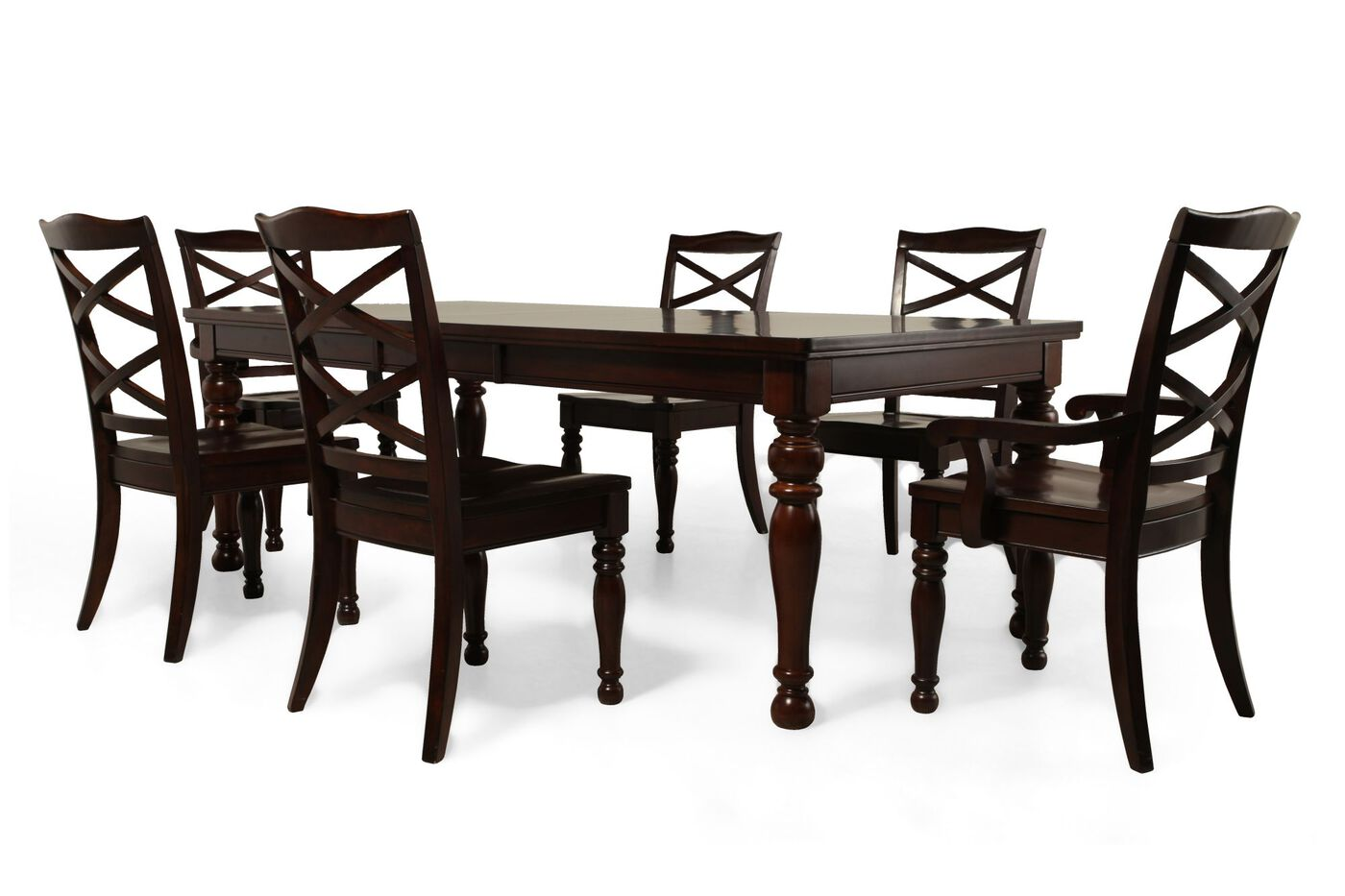 Seven Piece Traditional Dining Set In Burnished Brown