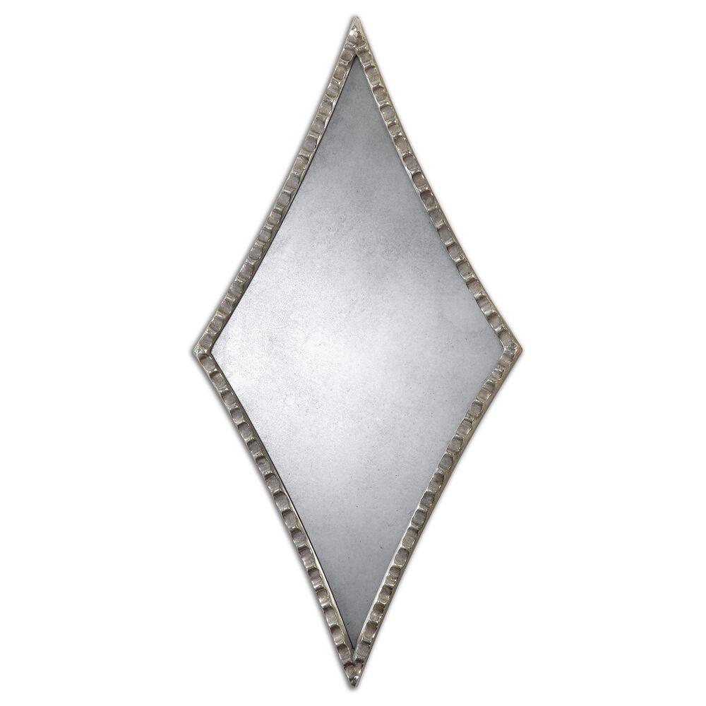 27'' Scalloped Diamond Accent Mirror in Oxidized Silver