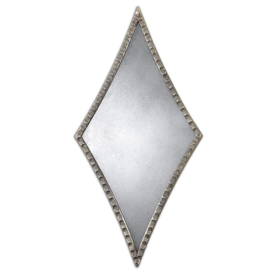 27'' Scalloped Diamond Accent Mirror in Oxidized Silver