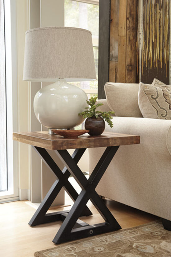 Square Casual End Table in Light Brown