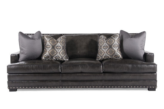 "Nailhead-Accented Leather 94"" Sofa in Graphite"