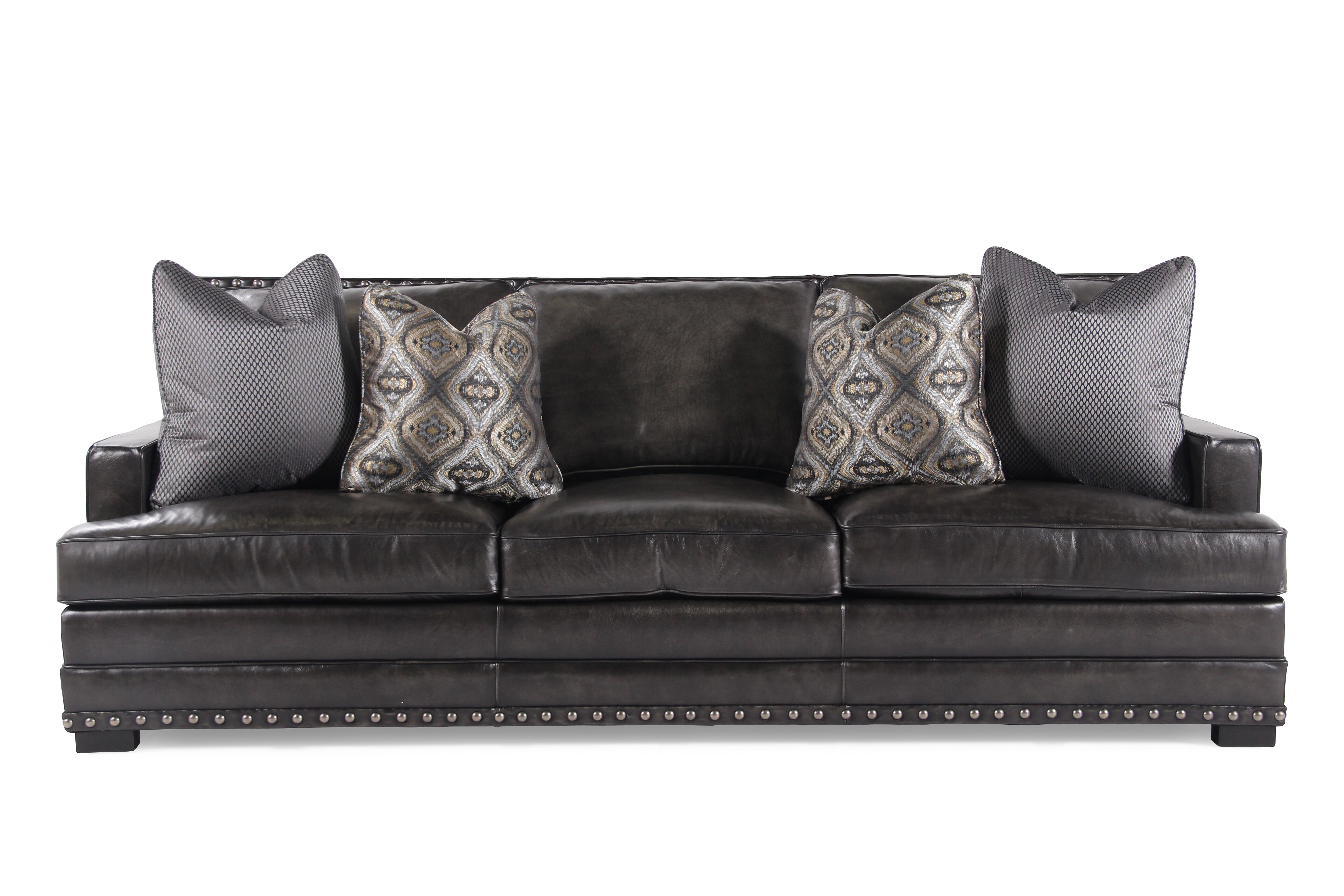 Nailhead Accented Leather 94u0026quot; Sofa In ...
