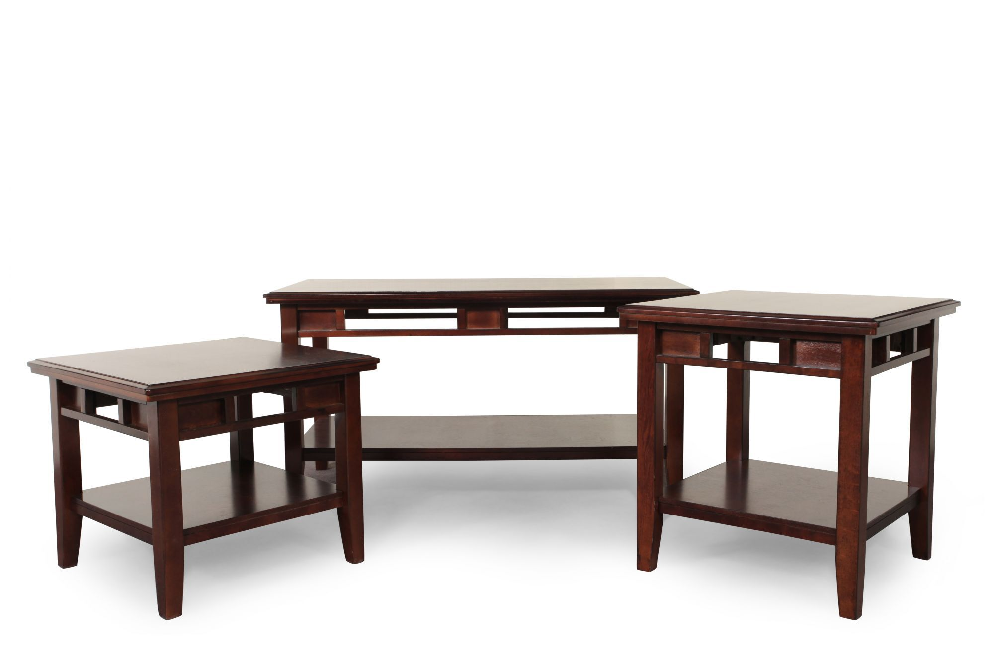 Three Piece Contemporary Coffee Table Set In Dark Brown