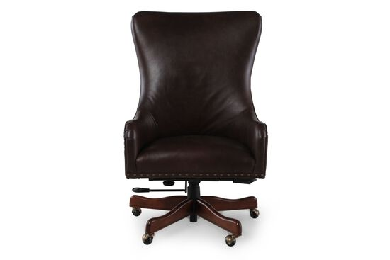 Leather Executive Swivel Tilt Chair in Dark Brown