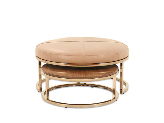 Round Mid-Century Modern Nested Cocktail Tables in Champagne