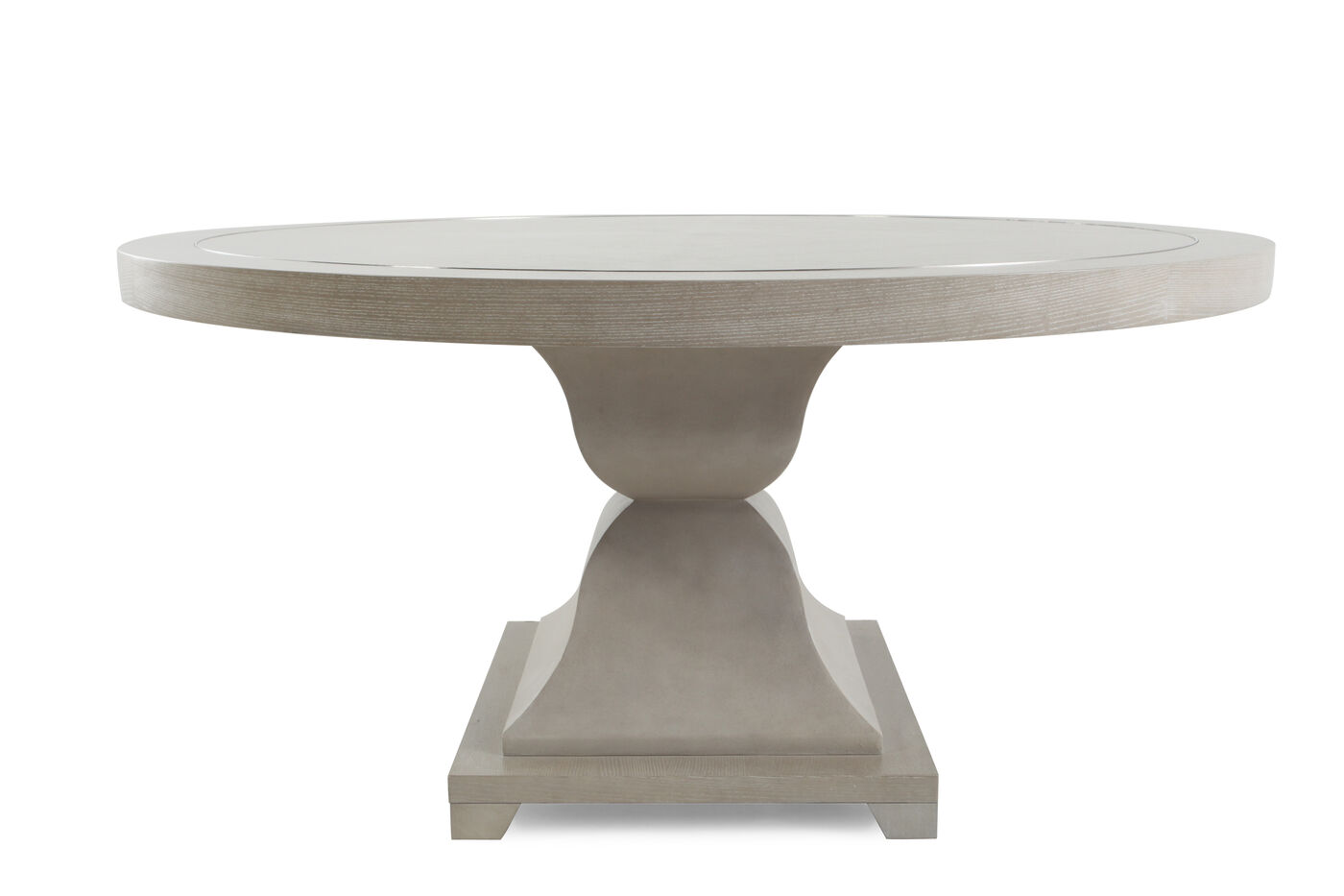 Metropolitan Round Dining Table With Leather Patterns In - Grey round pedestal dining table