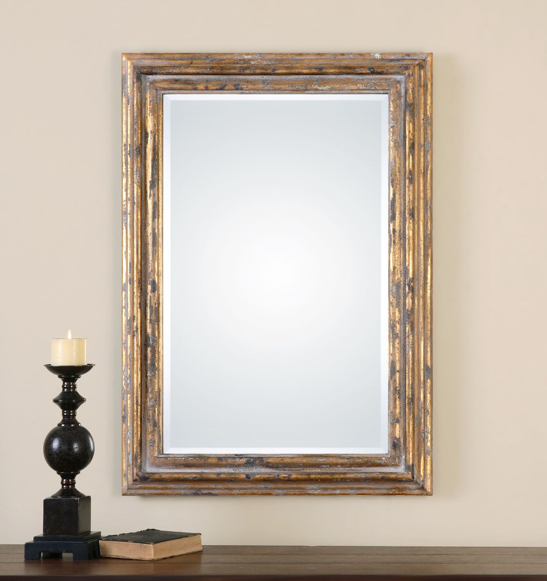 Gold Leaf 40 Distressed Accent Mirror In Antiqued
