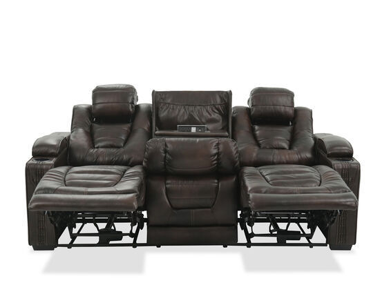 """Leather 84"""" Power Reclining Sofa with Cup Holder in Brown"""