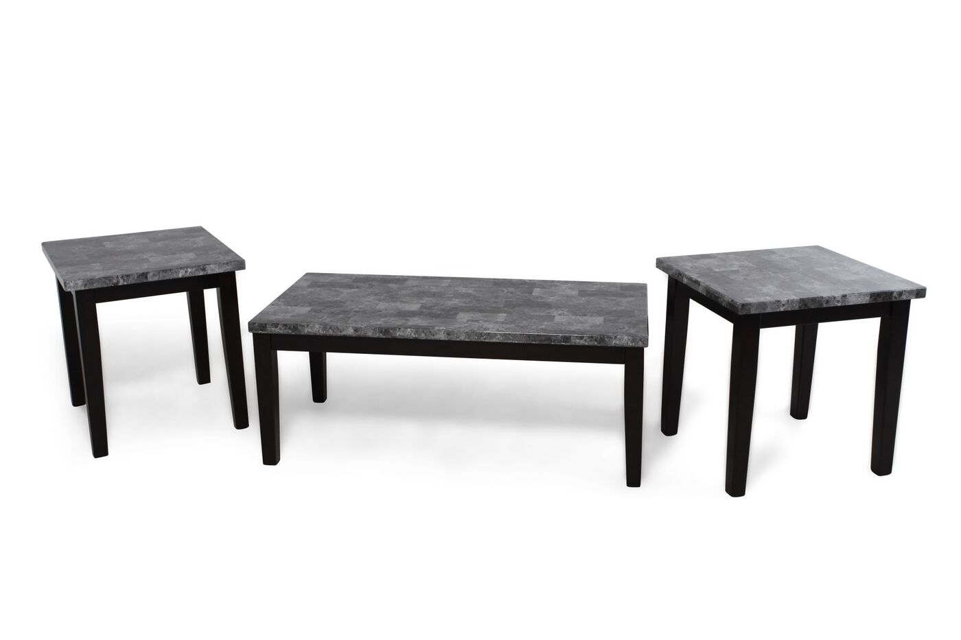 Three piece contemporary coffee table set in black for Black living room table set