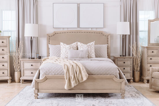 """61"""" Nailhead Accented Casual Queen Upholstered Bed in Parchment White"""