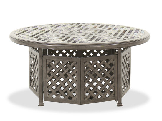 "Lattice Traditional 52"" Firepit Table in Medium Brown"