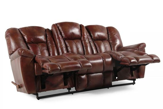 "Leather 87"" Reclining Sofa in Mahogany"