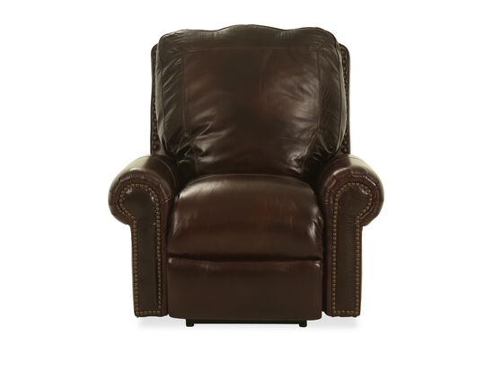 "Nailhead-Accented Leather 44"" Power Recliner in Cabernet"