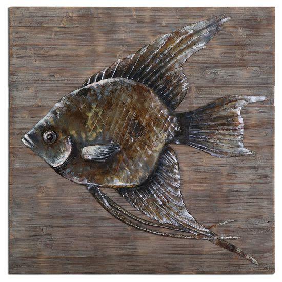 Hand-Embossed Steel Fish Wall Art