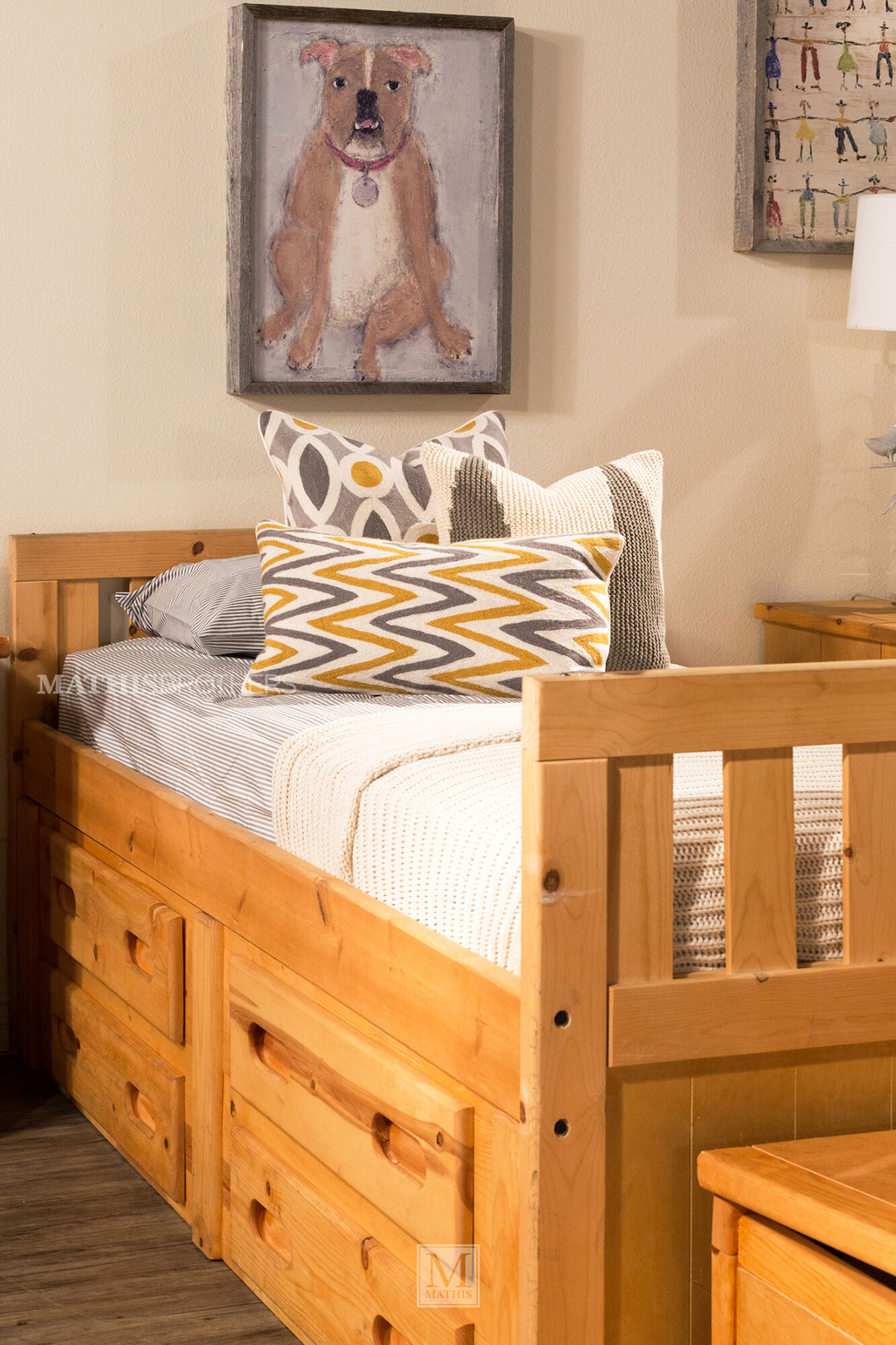 Solid pine youth storage bed in cinnamon mathis brothers - Childrens pine bedroom furniture ...