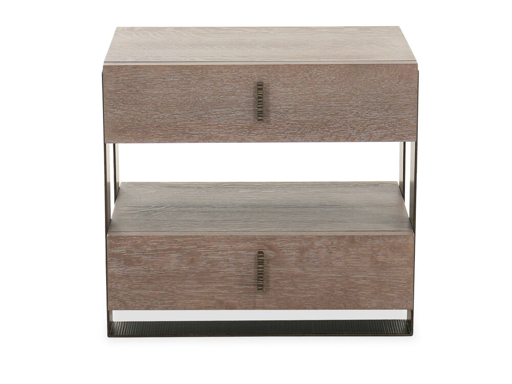 """24.5"""" Transitional Two-Drawer Telephone Table in Flaky Oak"""