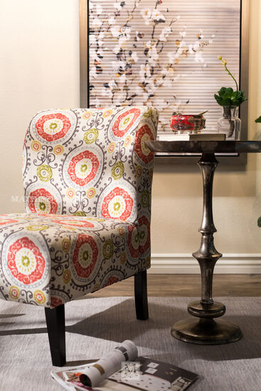 "Floral Tapestry Contemporary 22"" Accent Chair"