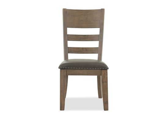 """Contemporary 39"""" Nailhead-Accented Side Chair in Brown"""