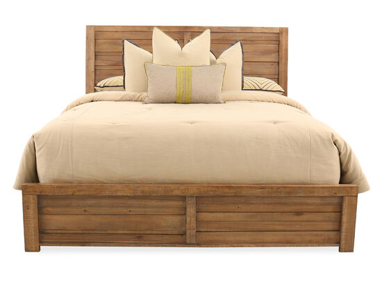 "58"" Planked California King Bed in Weathered Brown"