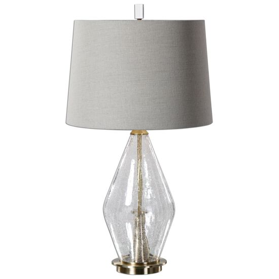 Tapered Round Hardback Shade Crackled Glass Lamp in Light Gray