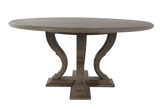 """Refined Romantic Luxury 60"""" Round Dining Table in Gray Cashmere"""