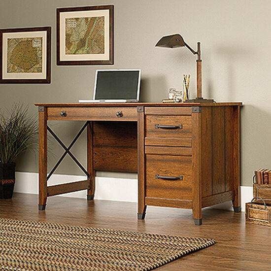 "53"" Transitional Three-Drawer Desk in Washington Cherry"